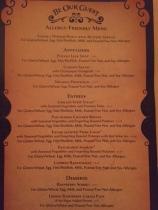 menu belle